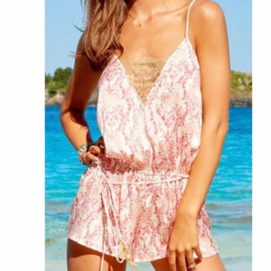 Beach Bunny Pink and Gold Romper